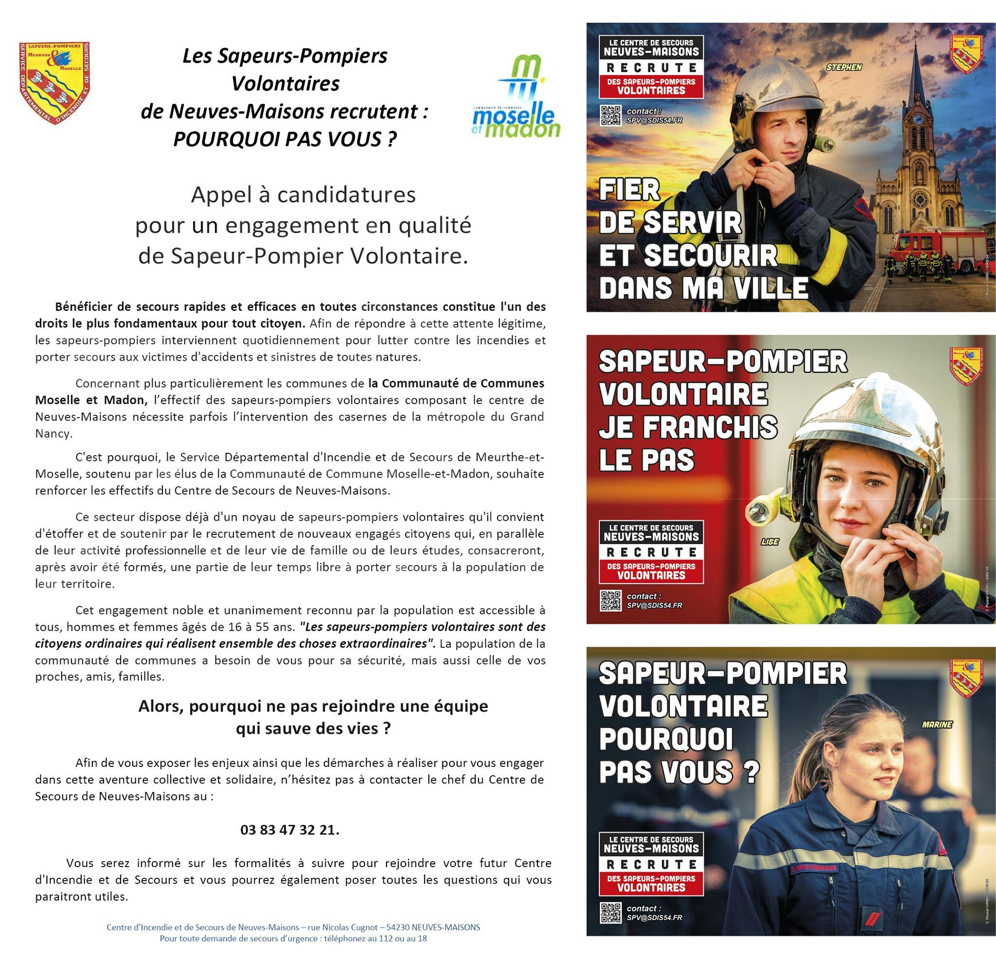 Les Sapeurs-Pompiers de Neuves-Maisons recrutent des volontaires !