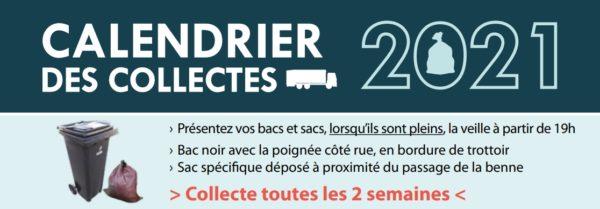 Calendrier 2021 des collectes des ordures ménagères et des emballages recyclables
