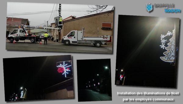 Installation des illuminations de Noël