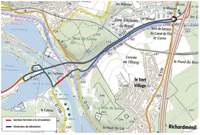 Fermeture du Pont de la Moselle entre Messein et Méréville