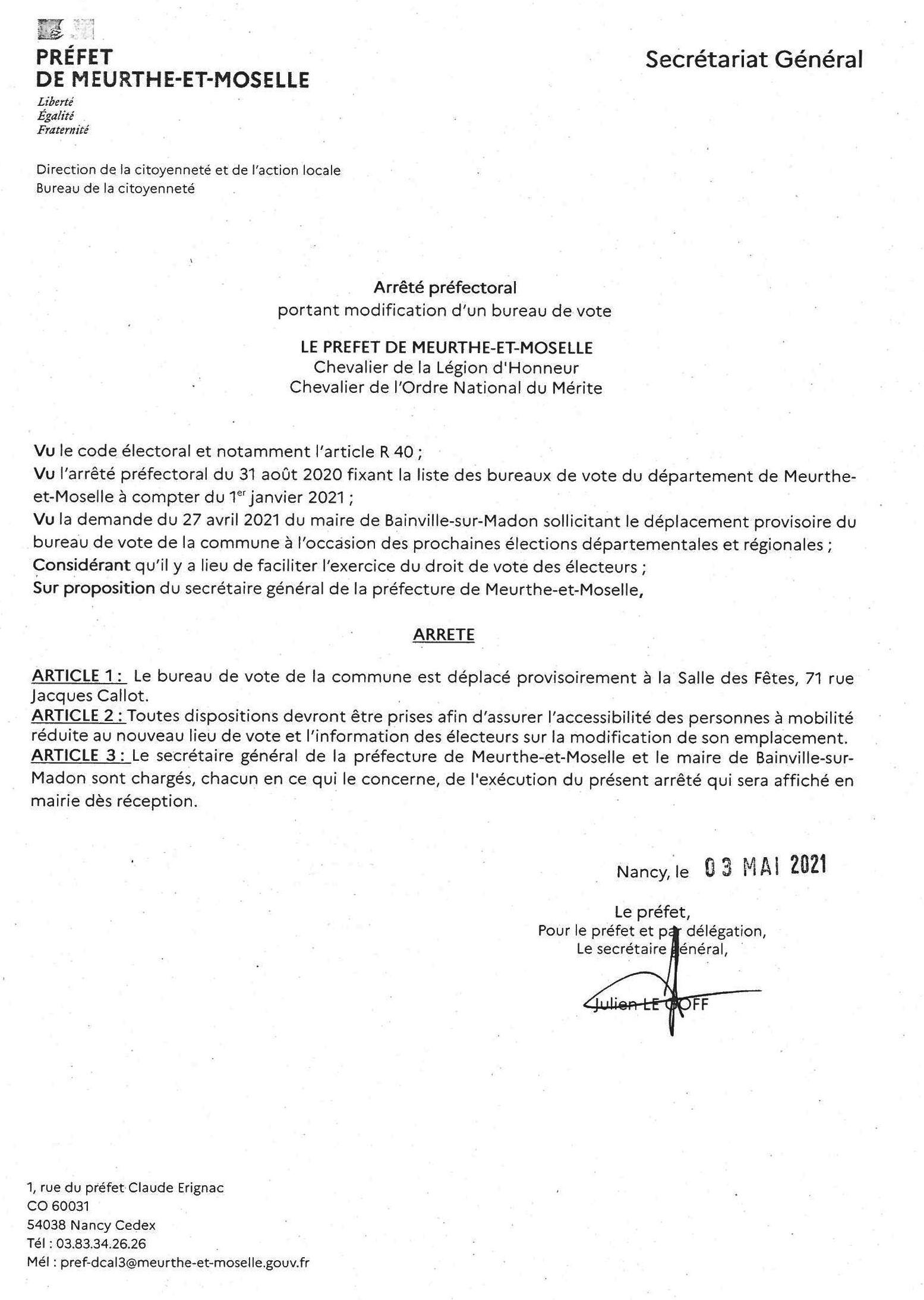 Arrêté de modification de la commission de contrôle des listes électorales