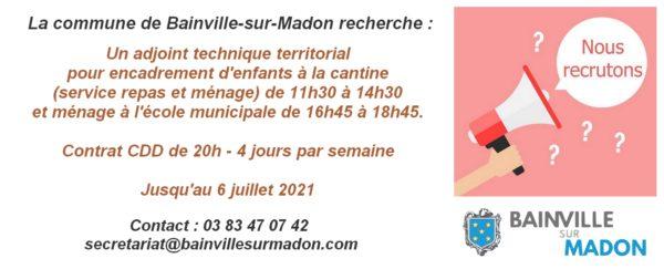 La commune de Bainville-sur-Madon recherche un adjoint technique territorial !